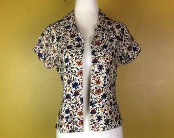 Floral Print Blouse // Paisley Blouse // Short Sleeve Blouse // Summer Shirt // Vintage Blouse