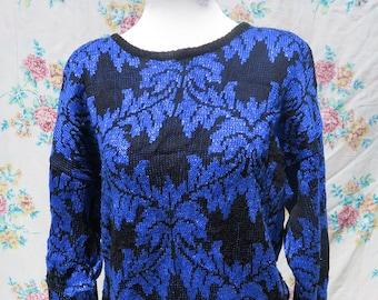 cca2d3dc34 Vintage Blue Black Jumper   Baroque Floral Print Sweater   Retro Filigree  Jumper   Womens Pullover Medium   Fashion Knitwear