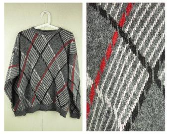 Vintage 80s Plaid Sweater Grey Womens Plaid Jumper Unisex Retro Sweater Vintage Pullover Grunge Womens Medium Mens Retro Jumper Knit Wear