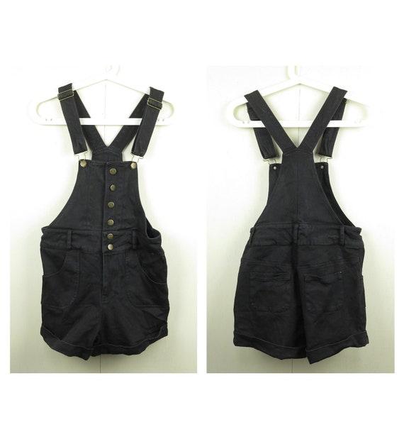Black Denim Overall Shorts / Vintage Overalls / 90