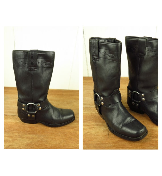 Dockers Black Leather Western Boots / Motorcycle B