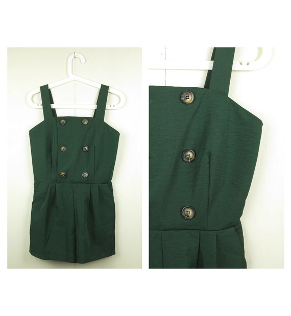Green Overall Shorts / Vintage Overalls / 90s Over