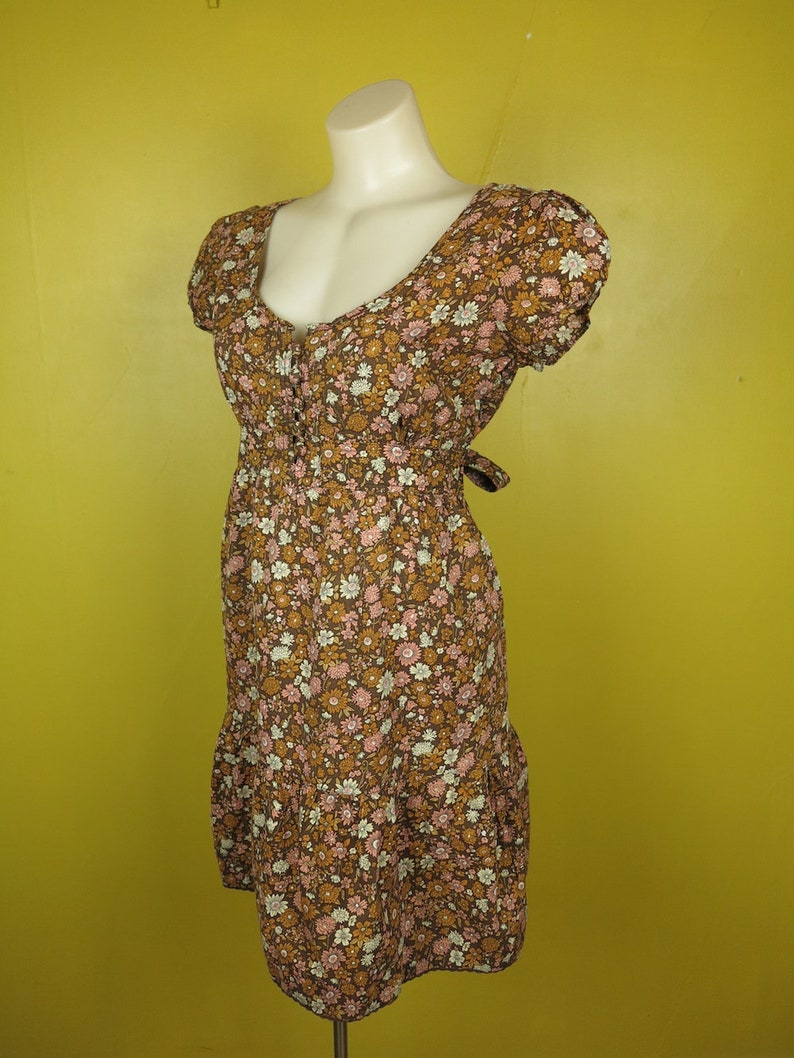 ec52d4811b0 Vintage Floral Dress   Brown Summer Dress   Festival Dress