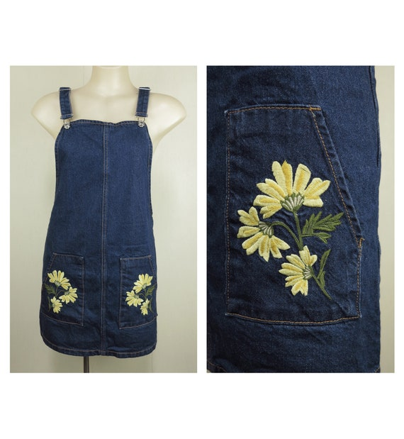Blue Retro Denim Pinafore with Floral Embroidery /
