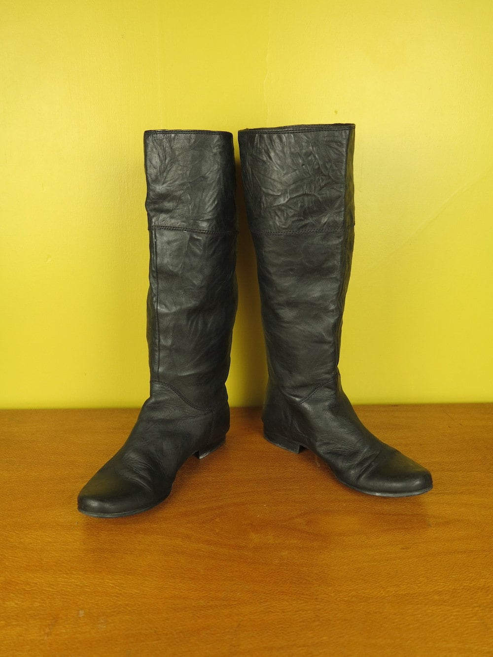 Black Vintage Leather Boots / Womens Calf Boots / Flat High Calf Womens Boots / Everyday Boots 55505d