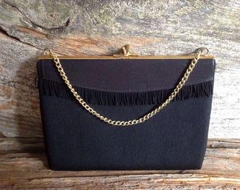 Vintage Black Fringe Evening Bag wedding/party/prom/bridal/purse/vintage/special occasion