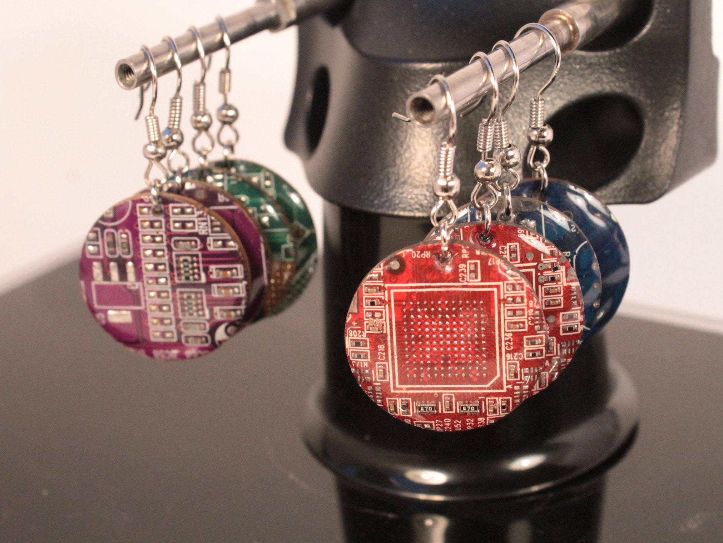 circuit board round earrings recycled jewelry electronic etsy