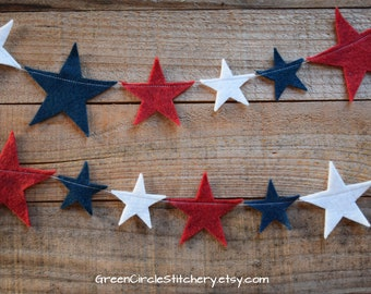 Felt star garland, 4th of July decor, Independence Day, Star Banner, Patriotic banner , Wool felt stars, Red White and Blue, Memorial Day