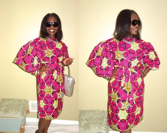 Women's Clothing, Summer Dress, African Clothing, African  Wax Print, African fabric, Midi Dresses, Robe Wax, Print Dress S, M, L