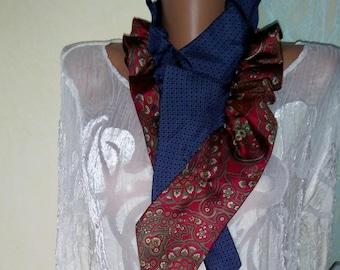 Ladies Silk Scarf Necktie Scarves Silk Necktie Scarf Pleated  Necktie Scarf Silk neck scarf Ladies gift idea Ascot scarf ruffle scarves