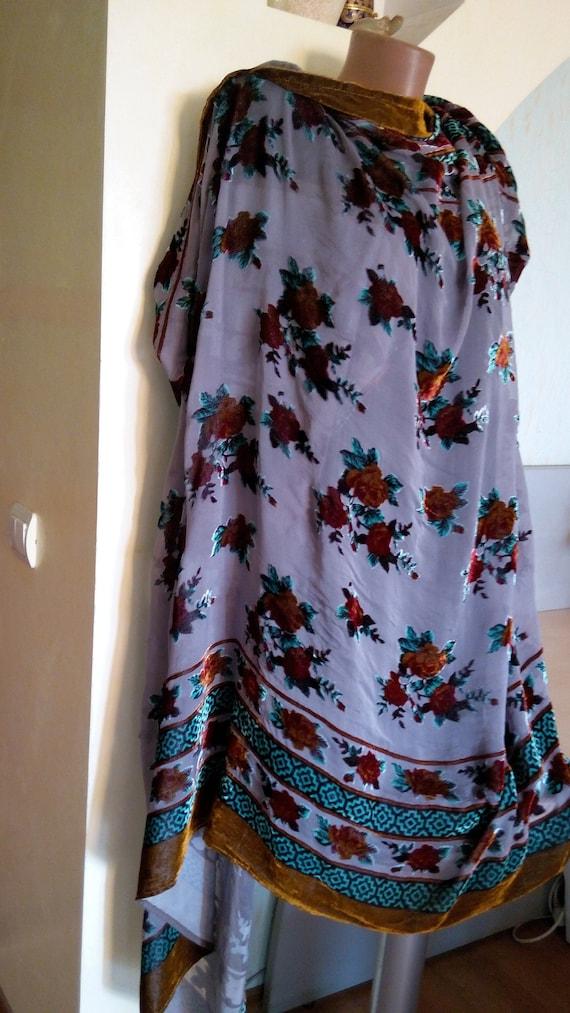Velvet floral scarf Silk scarf stole gift Big scar