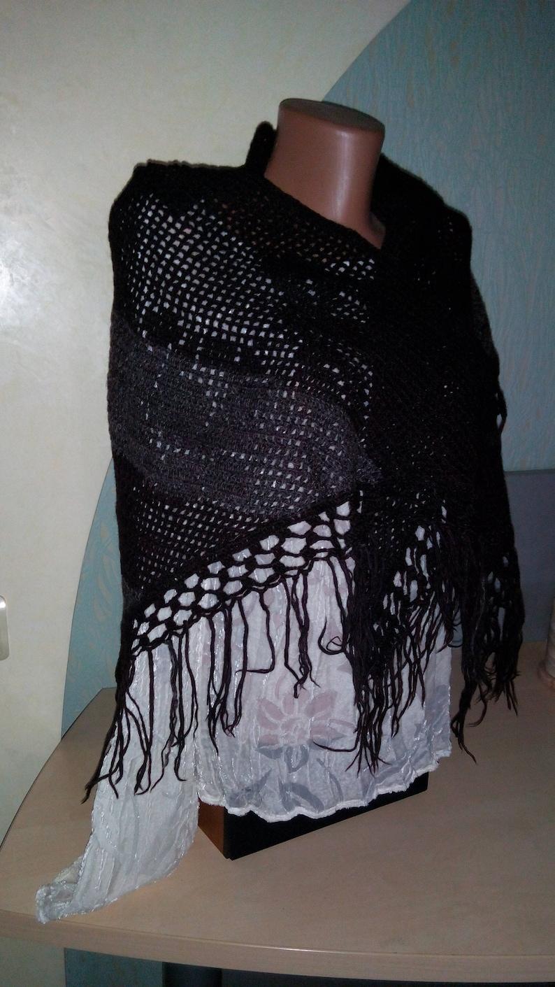 Boho Shawl Knitted Shawl Wool Knit Shawl Hippie Shawl Gypsy shawl vintage Shawl wrap crochet Crochet shawl Scarf with fringes Evening wrap