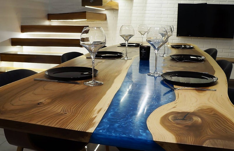Epoxy River Wooden Dining Table Top made of Acacia Wood Length