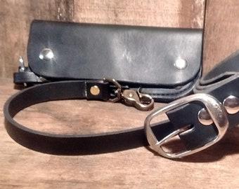 Leather, Belt, Wallet, Set