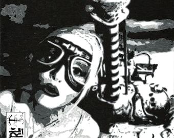 8 2/16x10 3/4 Print of Tank Girl