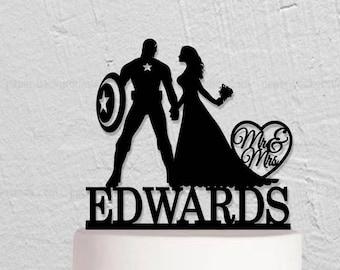 Wedding Cake Topper,Captain America Cake Topper,Bride And Groom Cake Topper, Mr Mrs Cake Topper,Custom Cake Topper With Last Name,