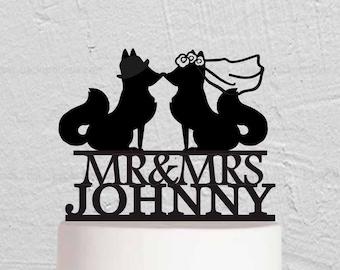 Fox Wedding Cake Topper - Fox Family Cake Topper - Animal Couple Cake Topper - Bride And Groom Cake Topper  W188