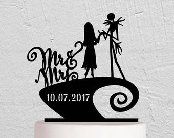 Jack and Sally Cake Topper,Wedding Cake Topper,Wedding Decoration,Jack Sally Wedding,Unique Cake Topper,Custom Cake Topper