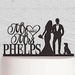 Wedding Cake Topper,Mr And Mrs Cake Topper,Bride And Groom Cake Topper,Couple Cake Topper with Dog ,Custom Cake Topper