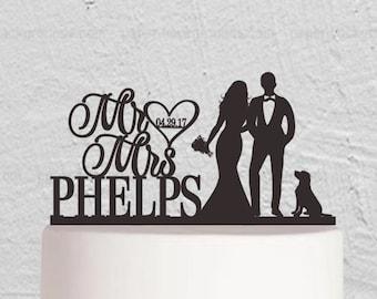 Wedding Cake Topper,Mr And Mrs Cake Topper,Bride And Groom Cake Topper,Couple Cake Topper with Dog ,Custom Cake Topper
