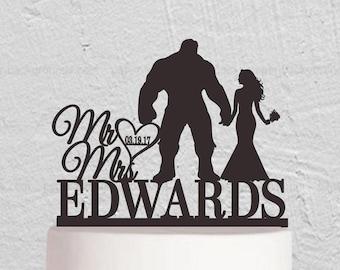 Wedding Cake Topper,The Hulk Cake Topper,Bride And Groom Cake Topper,Mr Mrs Cake Topper,Custom Cake Topper,Last Name Cake Topper