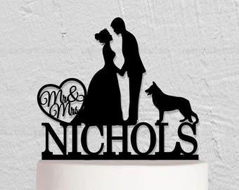 Wedding Cake Topper,Couple Cake Topper,Bride And Groom Cake Topper With Dog,Rustic Cake Topper,Custom Cake Topper,Last Name Cake Topper