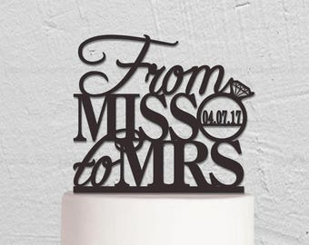 From Miss To Mrs Cake Topper,Wedding Cake Topper,Custom Cake Topper,Rustic Cake Topper,Personalized Cake Topper,Wedding Decoration