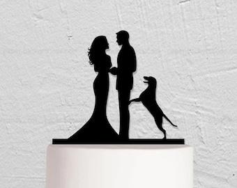 Wedding Cake Topper,Bride And Groom Cake Topper With Dog,Couple Cake Topper,Custom Cake Topper,Dog Cake Topper,Personalized Cake Topper
