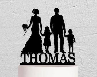 Wedding Cake Topper,Family Cake Topper,Custom Cake Topper,Children Cake Topper,Bride and Groom Cake Topper,Cake Topper With 2 Children