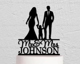 Wedding Cake Topper,Bride And Groom Cake Topper,Family Cake Topper with Child,Custom Cake Topper,Couple Cake Topper,Mr And Mrs Cake Topper