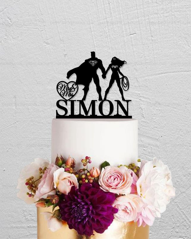 Superman And Wonder Woman Cake Topper Wedding Cake Topper Mr And Mrs