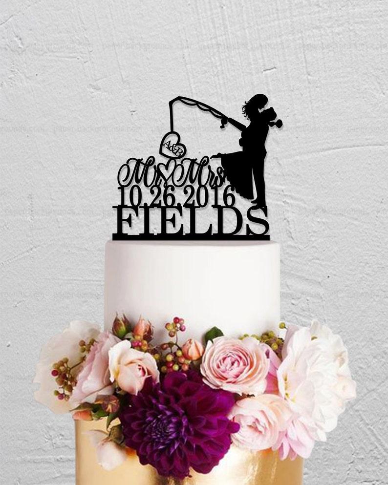 Fishing Cake TopperWedding Cake TopperInitials Cake image 0