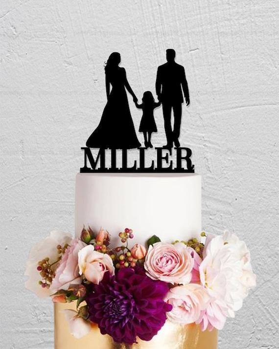 famiglia silhouette wedding cake topper con due Boy topper per torta nuziale regalo di compleanno sposo e sposa topper per torta con bambino