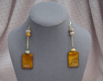Natural shell with Blue Lace Agate dangle earrings