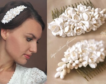 Wedding Jewelry, flower comb, wedding stuff, bride comb, fresia corsage, bridesmaids comb, gift for her, hydrangea headband, hydrangea comb