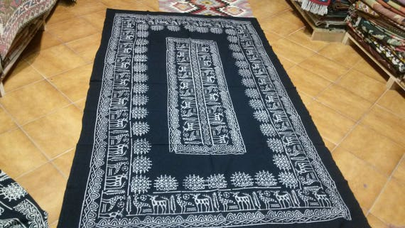 Hittite motifs wood stamped tablecloth size 7.77x4.92feet Its handmade naturale dyes