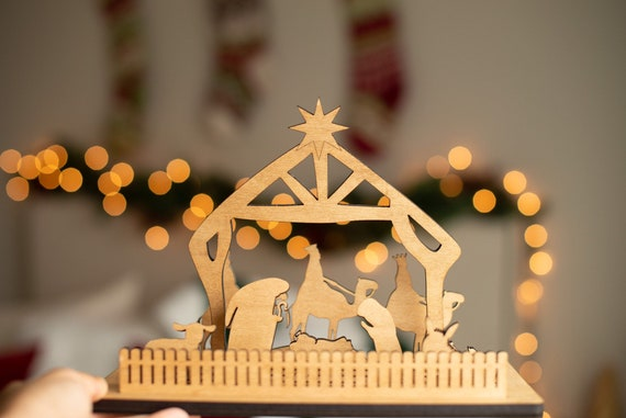 Wood Nativity Scene Etsy
