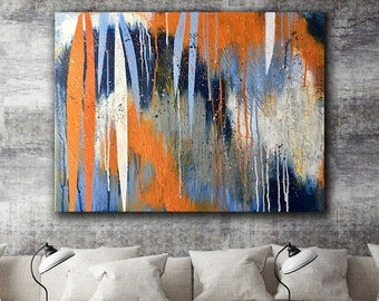 Orange Blue Wall Art Etsy