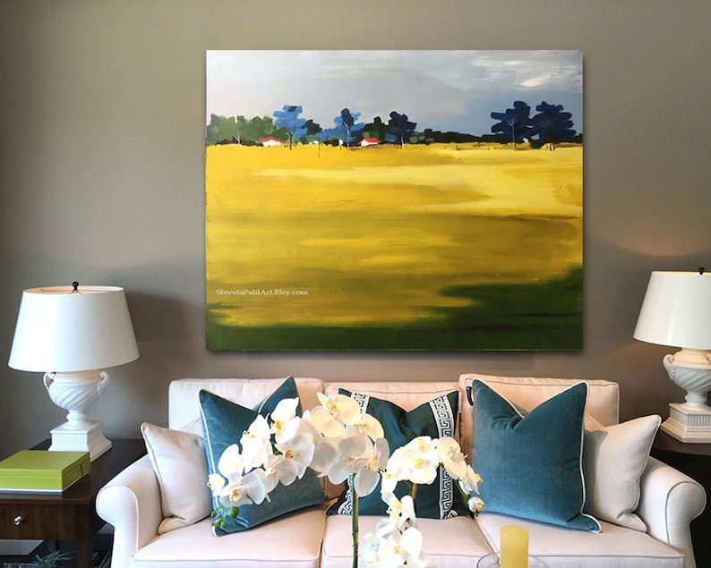CANVAS PRINT Field Meadow green yellow blue landscape abstract contemporary modern urban acrylic wall art home decor Free shipping