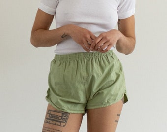 90s Made in France Vintage 24 25 26 27 28 Waist Elastic Cotton Shorts in Almond Brown XS S