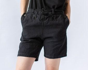 Hanger Sale FINAL SALE | Seven Button Vintage 26 28 30 Waist Black Denim Sailor Shorts |