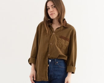 Vintage Mushroom Brown Long Sleeve Shirt | Contrast Color | Wrapped Buttons Simple Blouse | Cotton Work Shirt | M