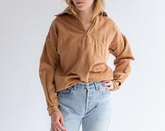 Vintage Almond Brown Popover Shirt | Herringbone Twill Long Sleeve Pullover | Artist Studio Top | XS S M