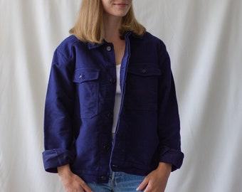 Vintage Navy Blue Work Jacket | Two Pocket Italy Coat | Moleskin | M | IT037