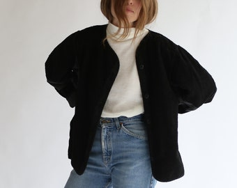 Vintage Black Overdye Pile Liner Jacket | Terry Cloth Texture Coat | Silky