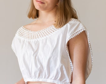 Vintage Victorian White Cotton top | Crochet Antique Corset Cover | Vintage White Camisole Chemise White Cotton top Blouse
