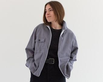 Vintage Slate Grey Zip Coat | Single Pocket Cotton Utility Work Jacket | Made in Italy | IT168 | M