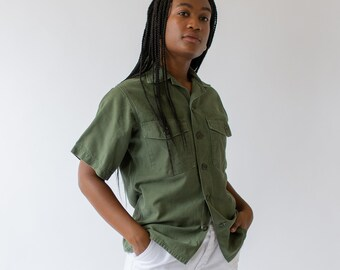 Vintage Olive Green Short Sleeve Slim Shirt | Cotton Button Up Shirt Army Jacket |