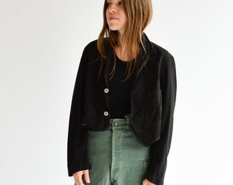 Vintage Black Overdye Crop Jacket | Short Western Bolero | XS S