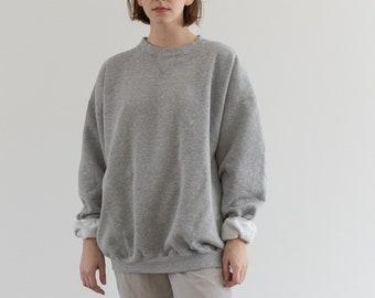 Vintage 90s Heather Grey [Navy Blue] Sweatshirt | Heavyweight Blank Gray Cozy Fleece V stitch Sweat | Made in USA | L XL |